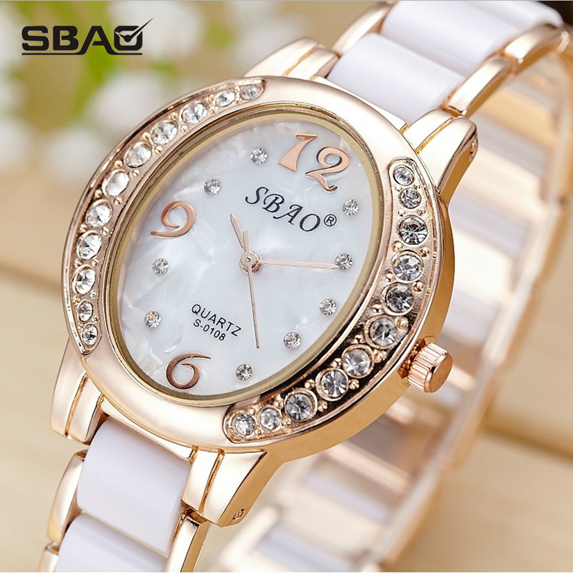 SBAO Brand Luxury Fashion Kvinnors Quartz Watch Imitation Keramiska - Damklockor
