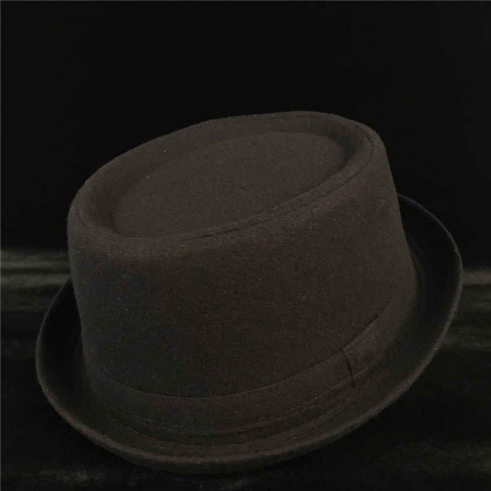 a678ca8c Fashion Men Wool Pork Pie Hat For Dad Winter Black Fedora Hat For Gentleman  Flat Bowler