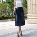Nuevo de Las Mujeres de La Manera del Tamaño Grande 5XL 6XL Falda Jeans Para Mujeres Denim Falda de Una Línea de Mitad de la Pantorrilla Largo Damas