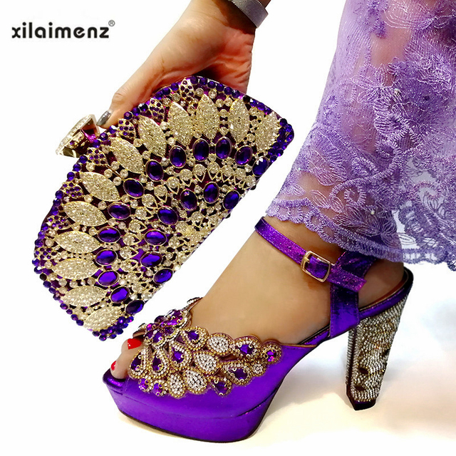 Purple Color Shoes With Matching Bags Set Italian Women's Party Shoes and Bag Sets Nigerian Women High Sandals And Handbag