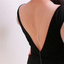 2016 new fashion pearl backdrop neckace back deep V bride wedding jewelry long necklace back chain backless dress accessories