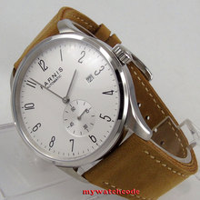 42mm parnis white dial Arabic Numerals date window ST1731 automatic mens watch