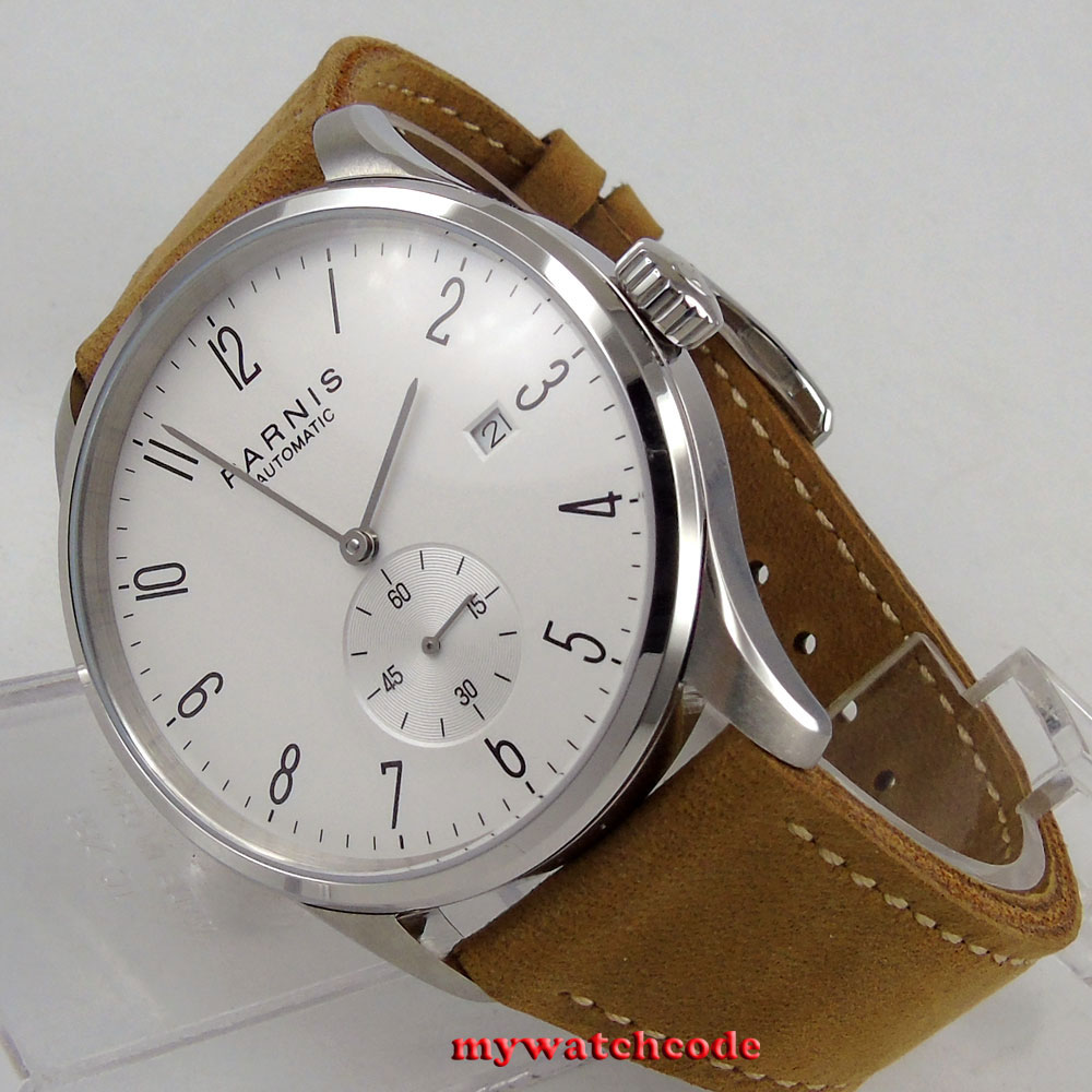 42mm parnis white dial Arabic Numerals date window ST1731 automatic mens watch цена и фото