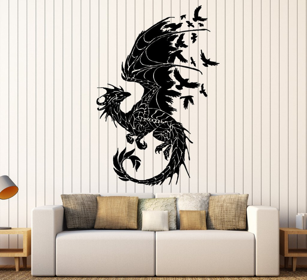 Dragon Silhouette Vinyl Wall Stickers Birds Fantasy ...