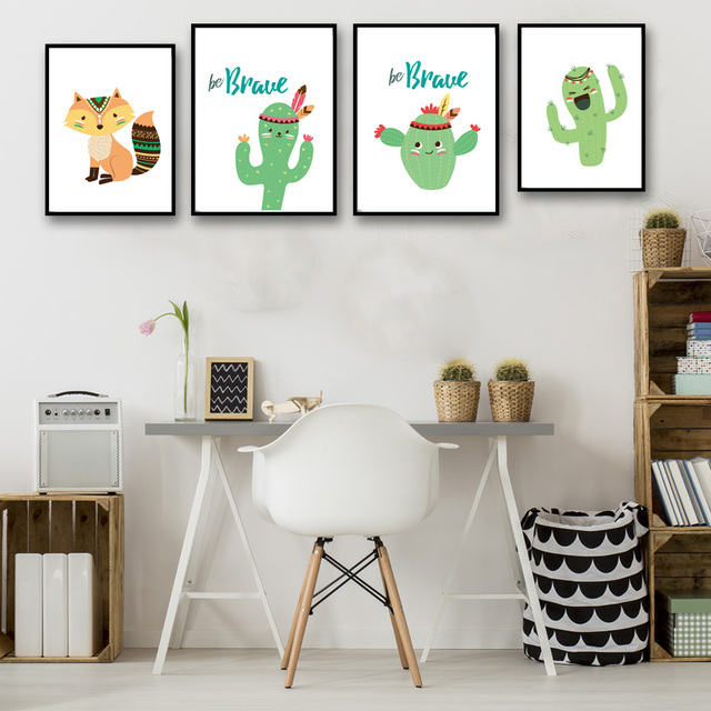 Cartoon Fox Cactus Children Room Nursery Art Canvas Poster Print Picture Minimalist Modern Home
