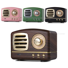 Portable Alloy Retro Style HiFi Stereo Bluetooth Speaker Sounder Box FM Radio Receiver with TF Memory Card U-Disk Loundspeakers(China)