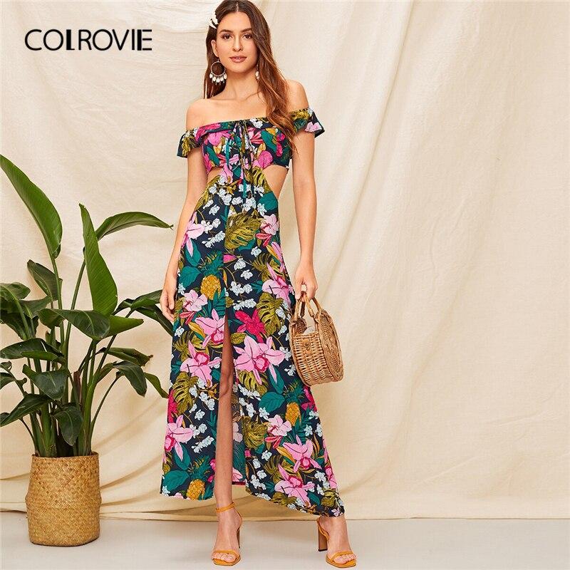 COLROVIE Off The Shoulder Floral Print Cut Out Boho Maxi Dress Women 2019 Summer Cap Sleeve High Waist Holiday Beach Dresses