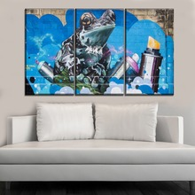 Modern Wall Decorative Artwork One Set Modular 3 Piece Spray Paint Frog Picture Canvas HD Print Type Style Artistic Poster