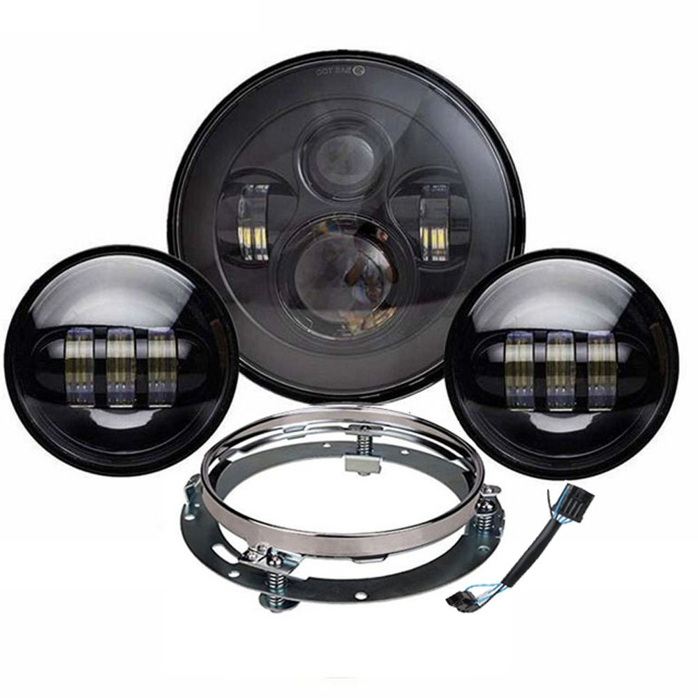DOT APPROVED 7 Daymaker LED Headlight 4.5 Fog Lights Driving Passing Lamp + Mounting Bracket Harness For Harley Touring