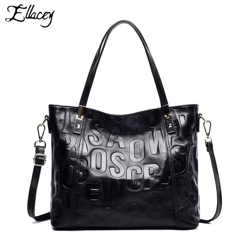 Ellacey Luxury Handbag Genuine Leather Vintage Casual Tote Top handle Shoulder Bag Original Design Letter Printing