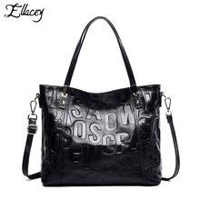 Ellacey Luxury Handbag Genuine Leather Vintage Casual Tote Top handle Shoulder Bag Original Design Letter Printing