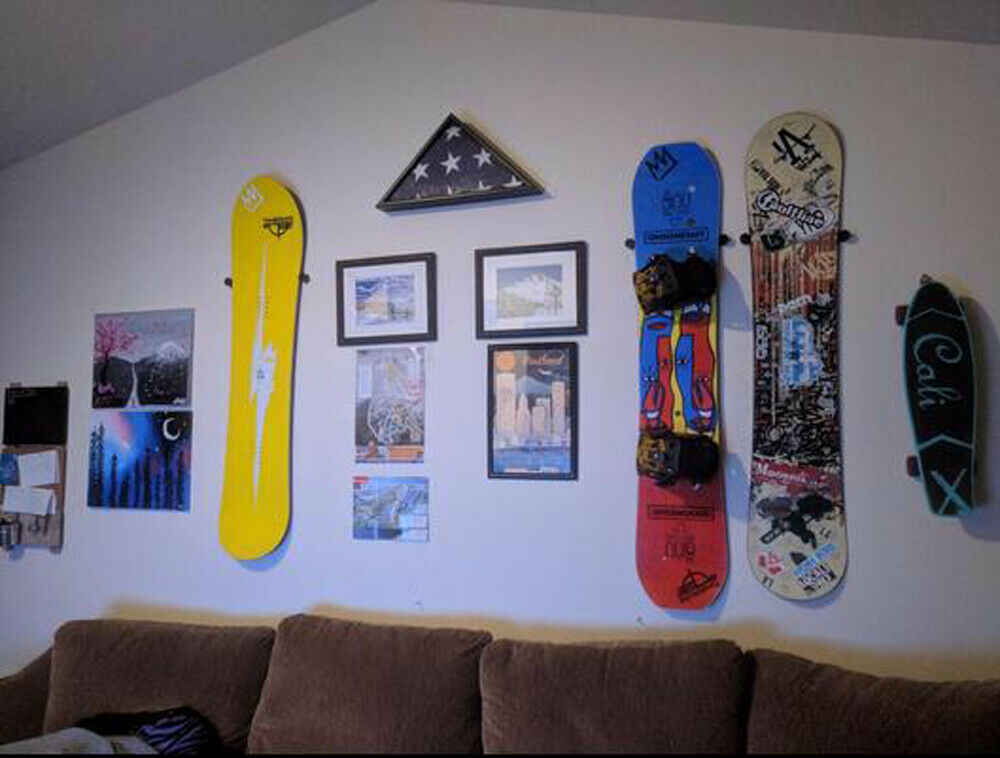 Snowboard Vertical Wall Mount Display (Montagem Flutuante Design) | Âncoras Drywall