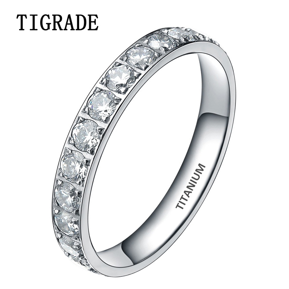 TIGRADE 3mm Black Rose Gold Titanium Ring Women Cubic Zirconia Engagement Rings Eternity Wedding Band Trendy Silver Jewellery