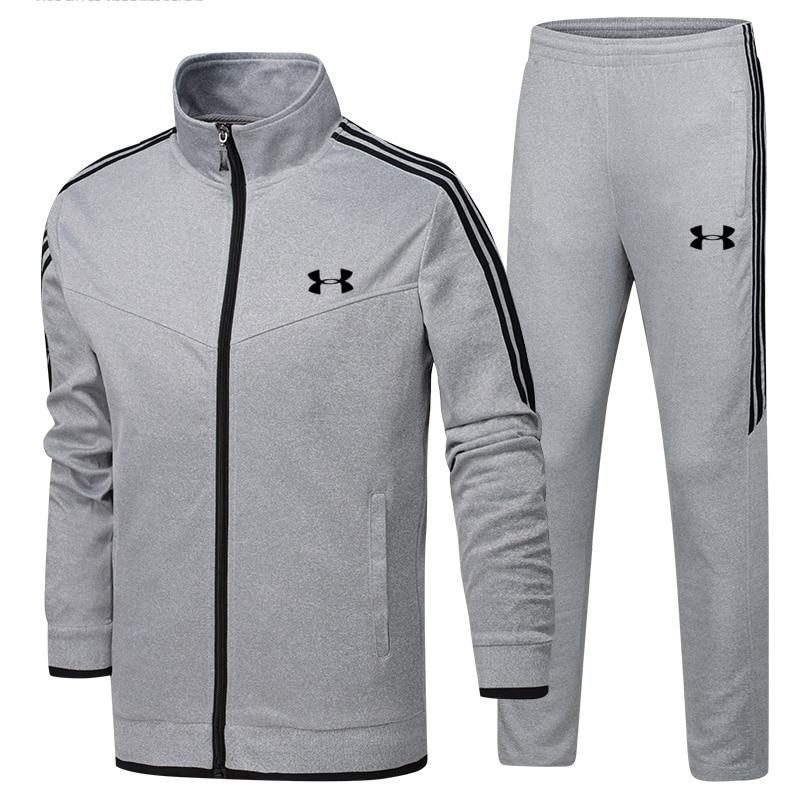 2019 Under Armour hommes veste d'entraînement veste + pantalon survetement homme formation course ensembles sport costumes 2 pièces de haute qualité - 3