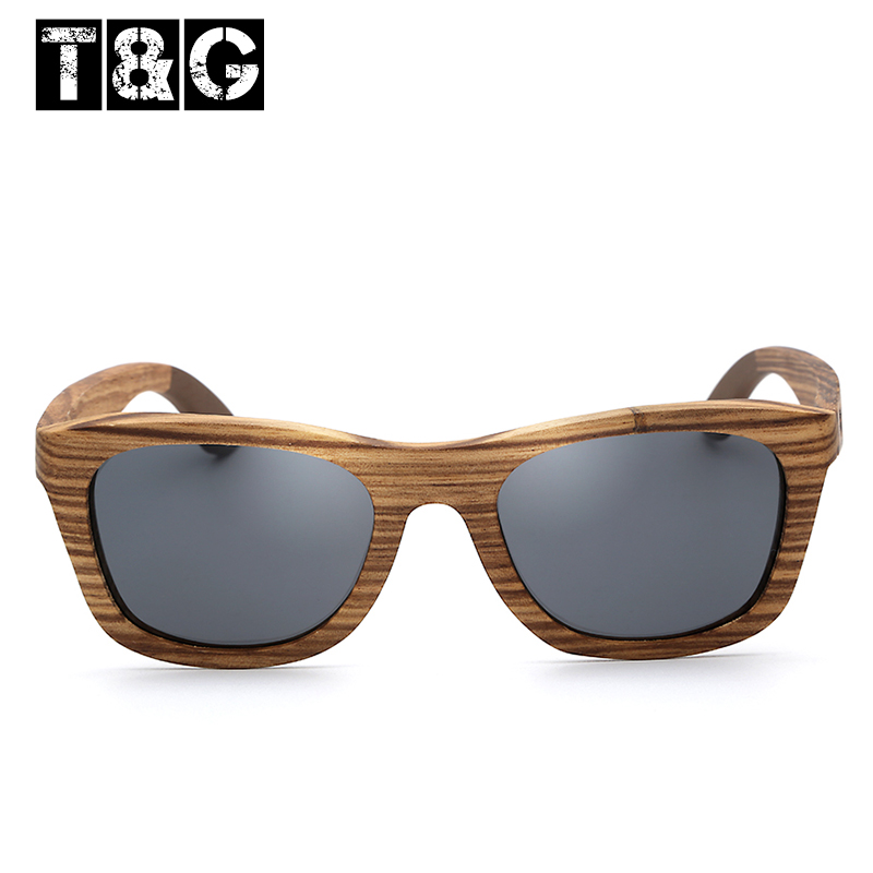 TG 2016 Zebra Wood Sunglasses Fashion Polarized Lens Glasses Oculos De Sol Gold Tips Natural Striped Wooden
