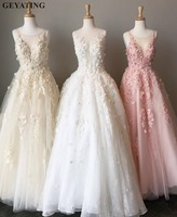 Elegant White Tulle Pink Lace Flora Prom Dresses 2019 Long Real Photos A line Beaded Women Formal Evening Dress Girl Party Gowns