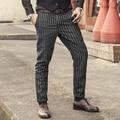 2016 al Estilo de Nueva Inglaterra Primavera Hombres Slim Fit Traje Recto Pantalones Casuales Masculinos pantalones de traje de negocios pantalones de La Manera de la raya Flaco
