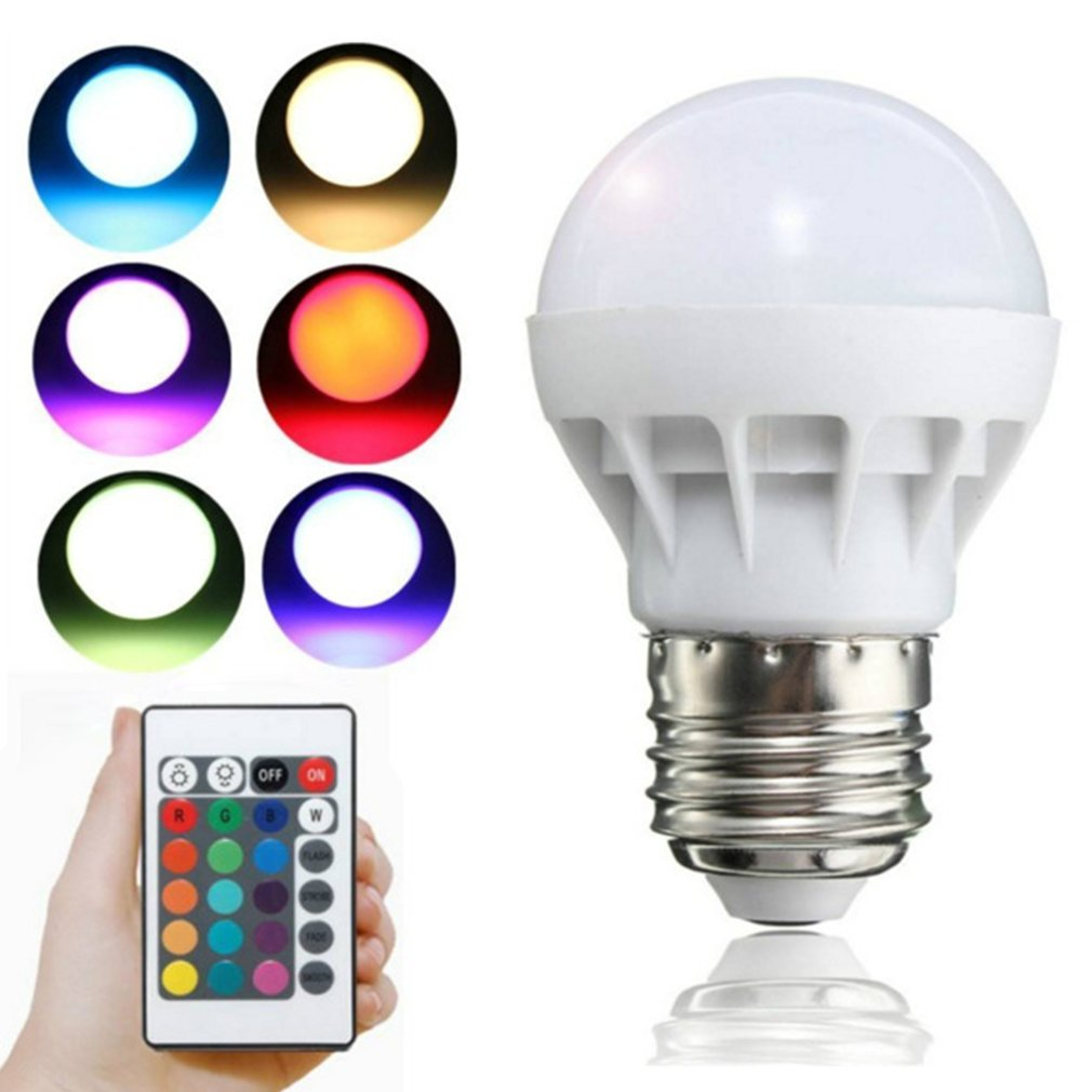 E27 3W RGB LED Light Bulb With Remote Control Multicolor Dimmer Bulb Lamp Indoor New Year Party Wedding Decor Lighting