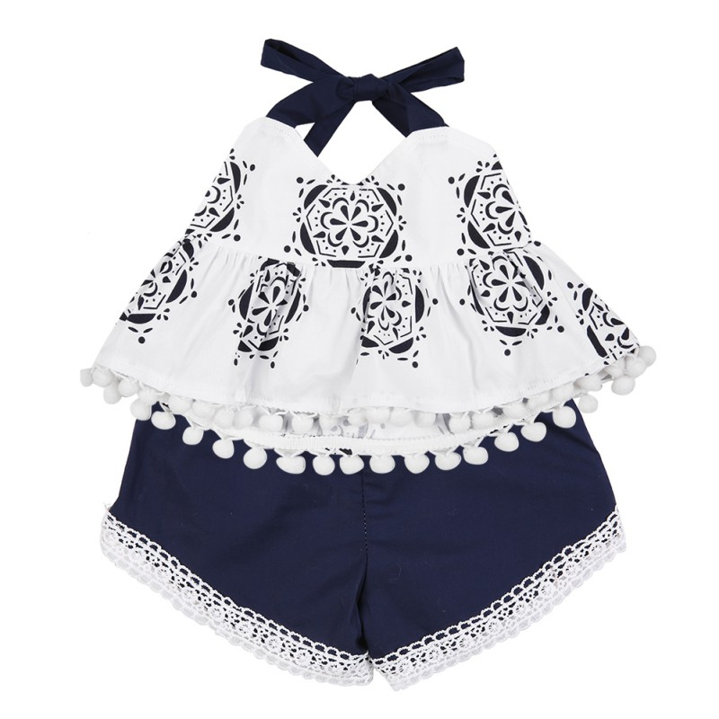 2017 Summer Baby Swing Top Baby Girls Clothing Infant Flower Ruffle Outfits +Newborn Girl Shorts Clothes Sets