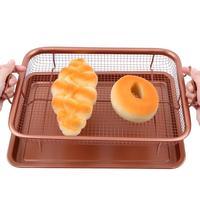 New 13inch Copper Crisper Air Fryer Basket Aluminum Tray Non Stick Eco Friendly Mesh Grill Crisper