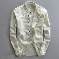 Hombres de algodón de lino manga larga casual Delgado mandarín collar Camisas negocios los hombres de alta calidad Algodón Camisas de traje tamaño asiático