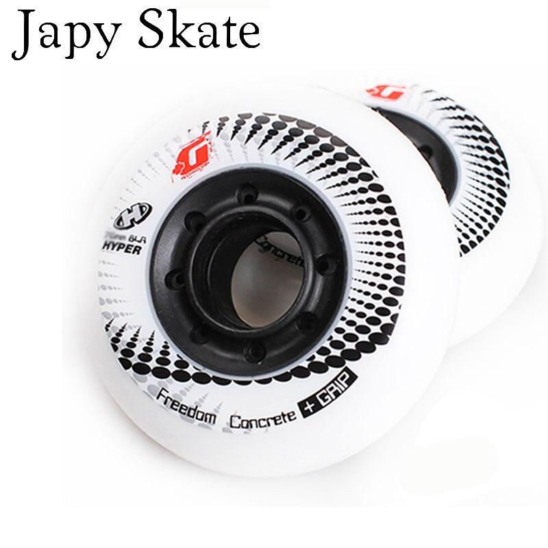 Jus japy Skate 8 pcs 100% D'origine HYPER + G Béton Patins À Roues Alignées Roues Coulissante Rouleau Roues Slalom Livraison De Patinage 84A patins Adulto