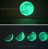 Funlife (TM) 50 cm Luminosa Luna Etiqueta de La Pared Tatuajes, Glow In The Dark Moon Decoración Para El Hogar, extraíble Seguro A Prueba de agua del Niño Habitación 20in