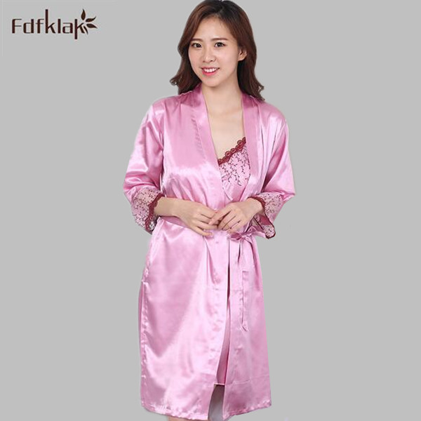 c23aaf38ef High Quality Plus Size Spring Autum Women Silk Robe   Gown Set Lady  Nightwear Female Sexy Bathrobe Home Suit Lace Dressing Gown