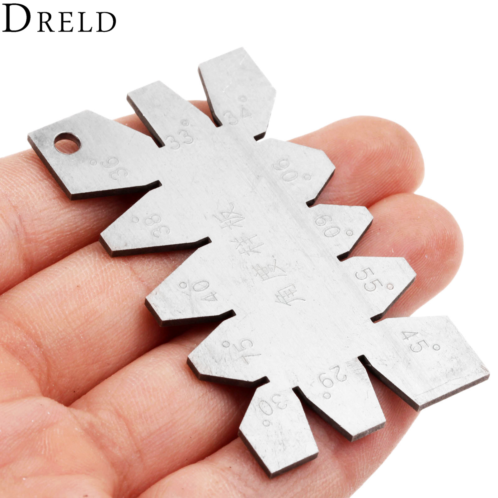 DRELD 1Pc Sliver Stainless Steel Screw Thread Cutting Angle Gage Gauge Measuring Tool