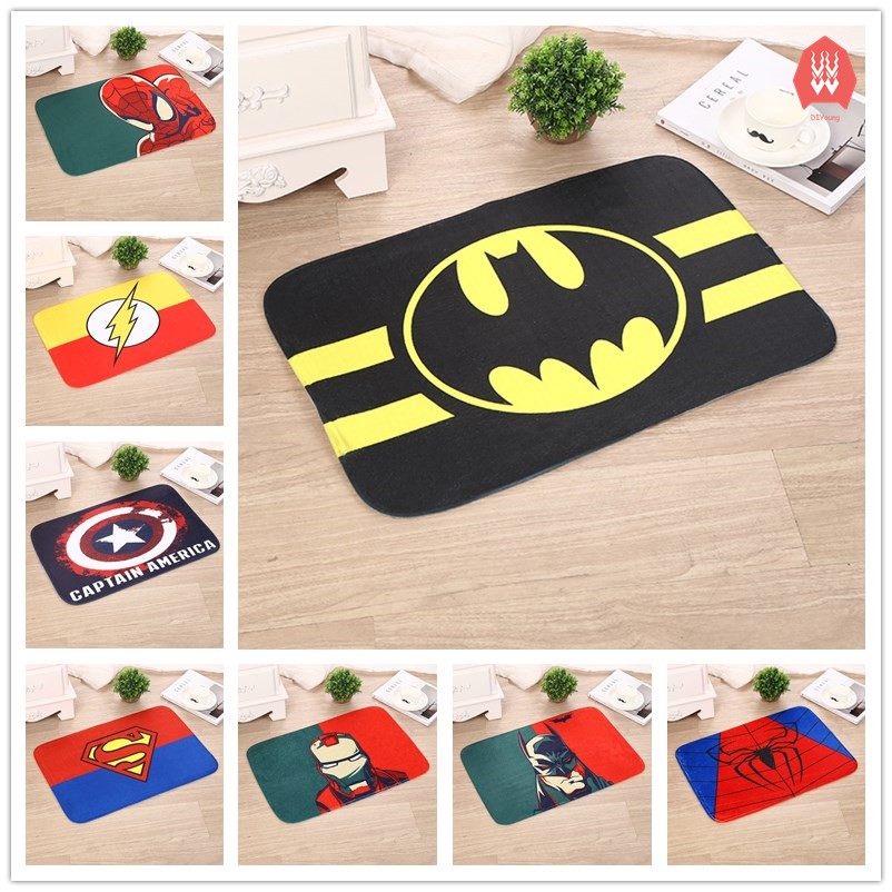 Superhero Floor Mats Anti Slip Rugs Superman Batman Spiderman Ironman  Printed Carpets Bathroom Kitchen Carpets