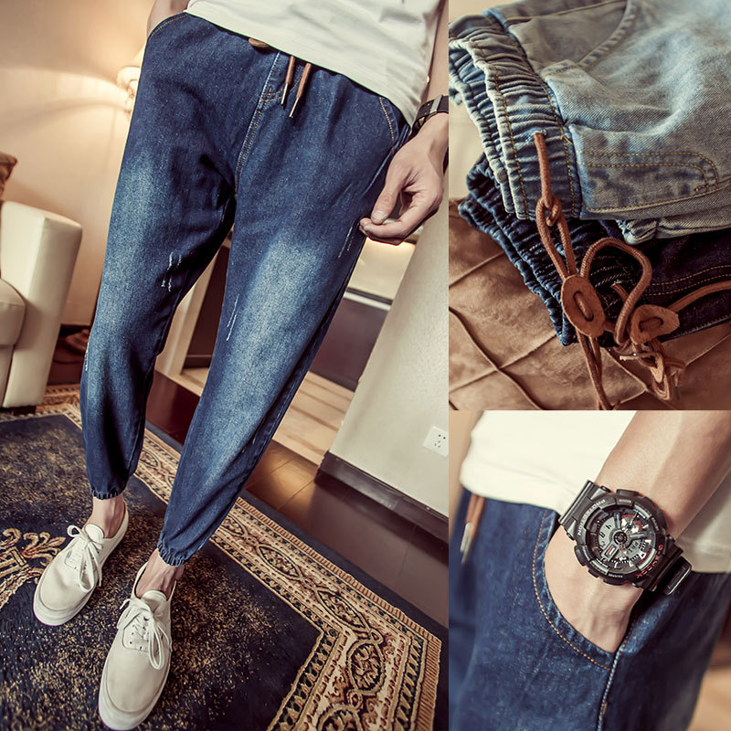 Fashion 2017 Spring Autumn Young men s clothing beam foot trousers elastic waist Ripped hip hop