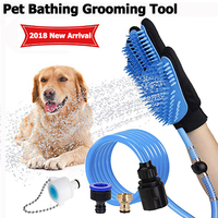 Pet Bathing Grooming Tool Comfortable Massage Dog Bath Shower Silicone Cleaning Gloves Bath Hose Sprayer for All Dogs Cats