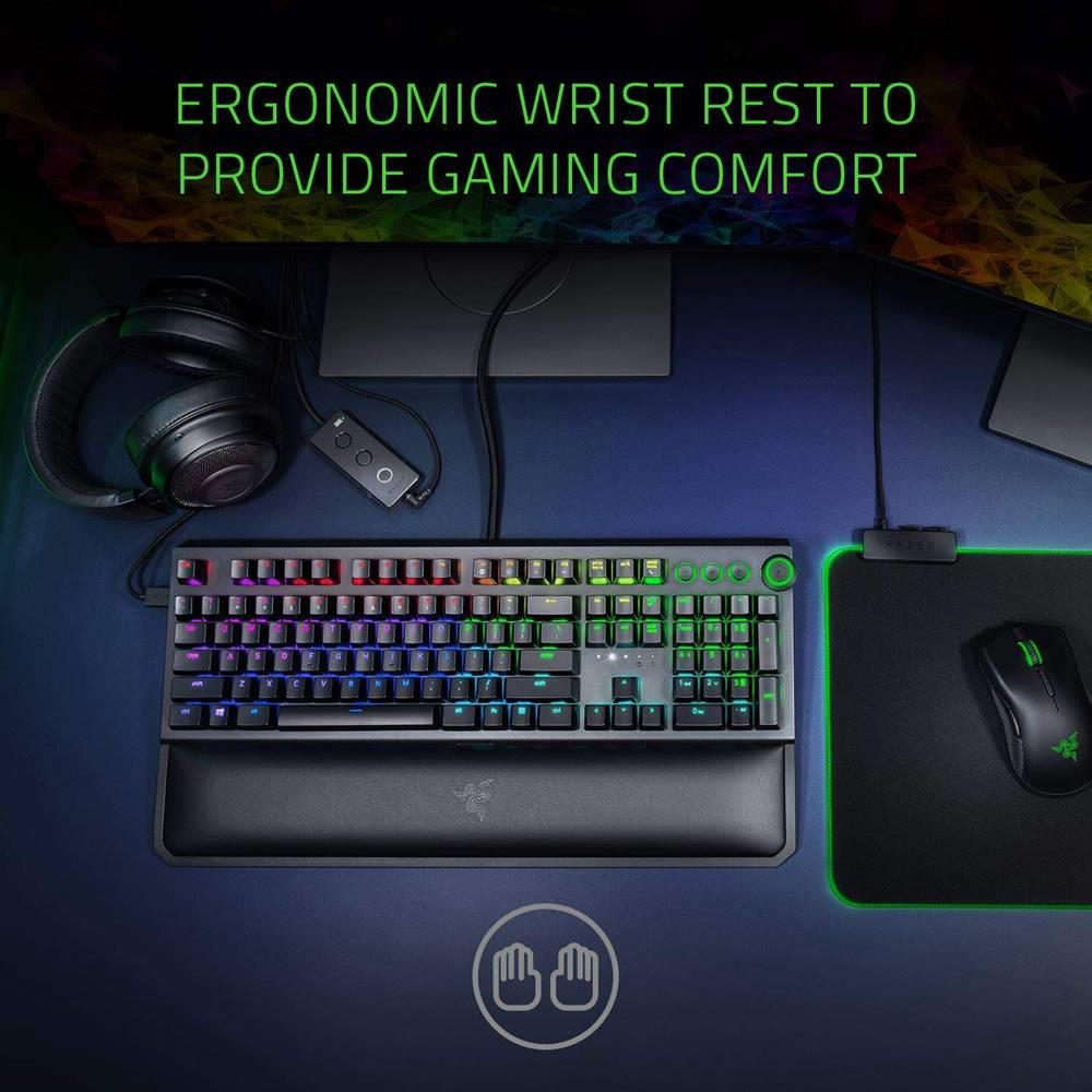 Razer BlackWidow Elite RGB Gaming Mechanical Keyboard Green Switches With Dedicated Media Controls Wrist Rest For PC Gamer