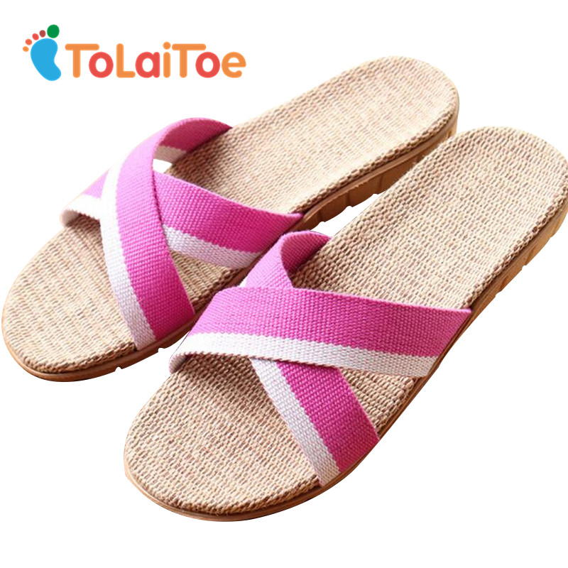 ToLaiToe Candy Colors Linen Home Floor Slipper Women's Striped 2 Colors Floor Shoes Summer Cool Non-slip Silent Sweat Slippers tolaitoe autumn