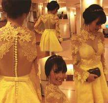 Cocktailkleider 2016 Sexy Vestido De Festa High Neck Spitze Appliques Mini Gelb Kurzes Party-kleid Sommer kleid Robe de cocktail