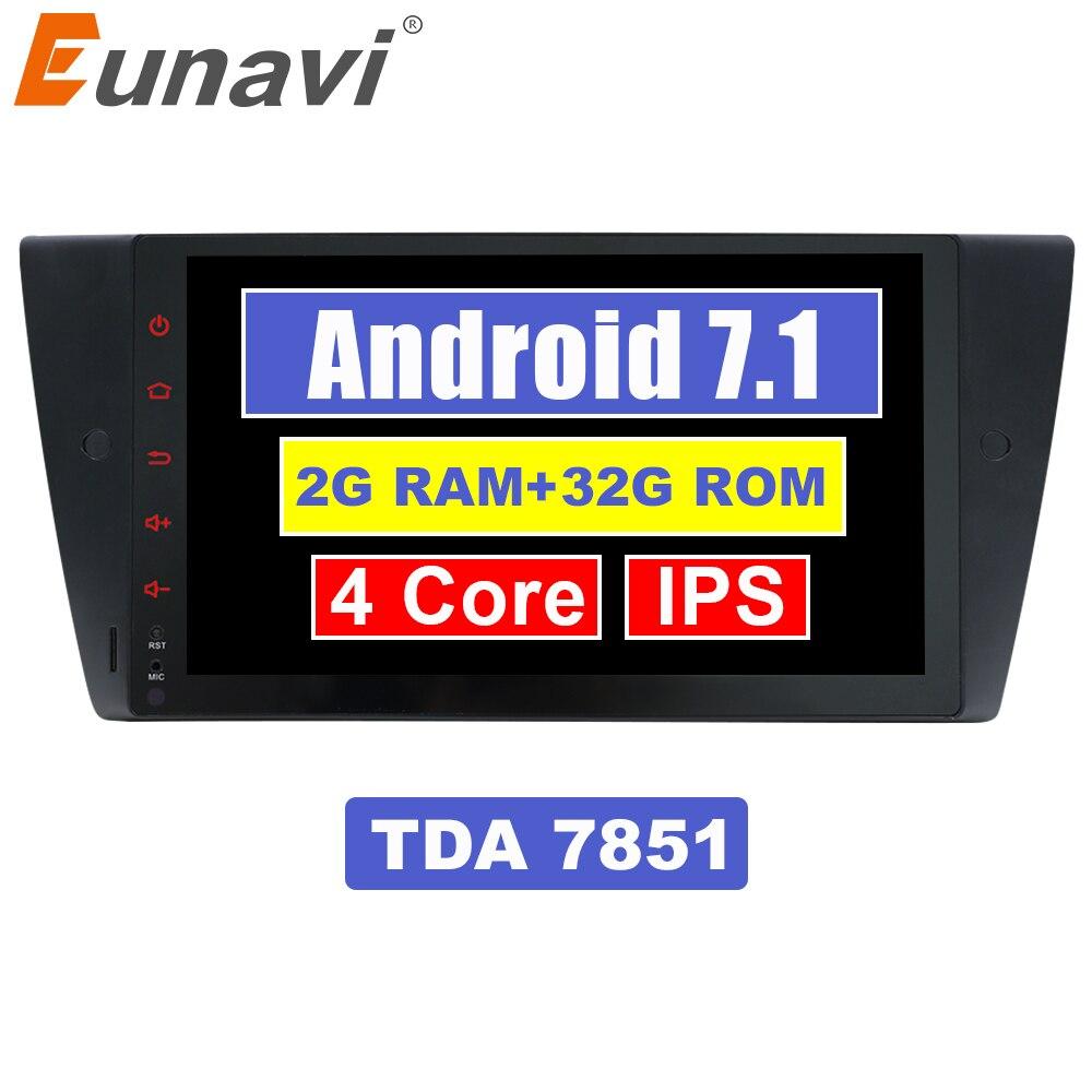 Eunavi 9 ''1 Din Android 7.1 autoradio stéréo GPS Navi MT AT pour BMW E90 E91 E92 E93 318 320 325 avec canbus RDS WIFI