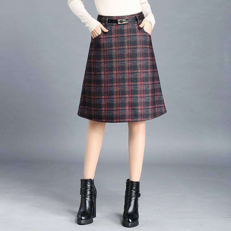 New Autumn Winter Skirts Womens High Waist Plaid Skirt Belted Pockets Midi Skirt Casual Plus Size Women Skirt Saias Saia Longa