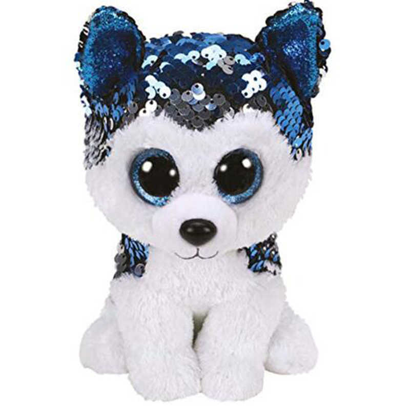 "Ty 6 ""15 cm Slush The Husky Dog Sequin Plush Regular relleno Animal colección suave ojos grandes muñeca de juguete"