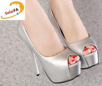 ФОТО 2017 new fashion women's peep toes pumps shoes black gold silver color PR459 extra high 14cm thin heels platforms ladies pump