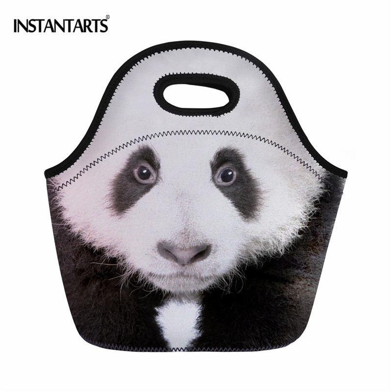INSTANTARTS Neoprene Food Bag Panda/Owl Pattern Outside Travel Picnic Bag for Adult Kids Boys Portable Thermal Lunch Tote Bags