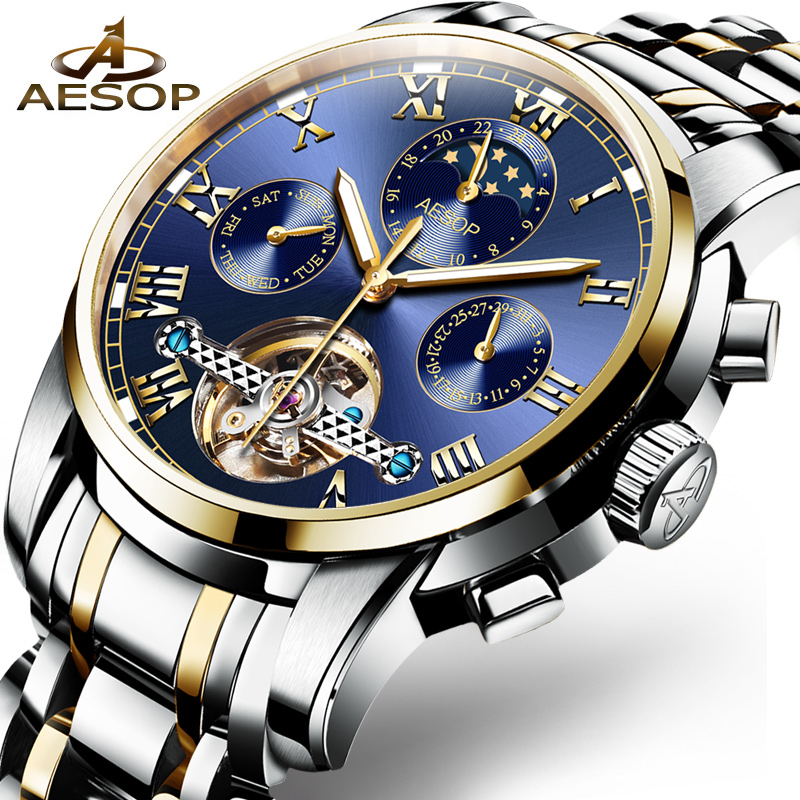 AESOP Business Mechanical Watches Mens Skeleton Tourbillon Automatic Watch Men Gold Steel Calendar Waterproof Relojes Hombre цена