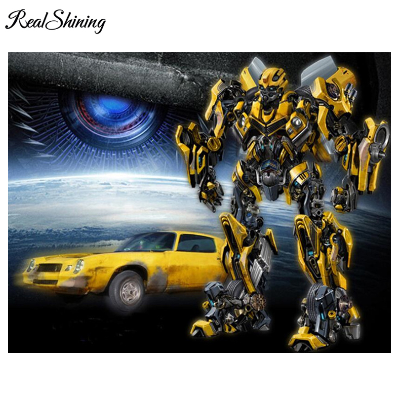 REALSHINING Cartoon robot car 5d diy diamond painting cross stitch rhinestones needlework full square diamond embroidery FS114