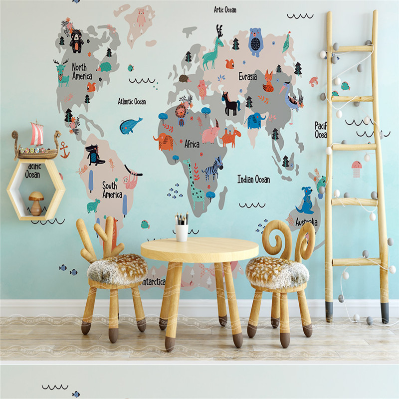 3D Cartoon Pattern Murals Funny and Educational DIY Wallpapers World Map Wallpapers for Kids Room Living Room Walls Home Decor 1pc 32cm world globe map ornaments with swivel stand home office office shop desk decor world map geography educational tool