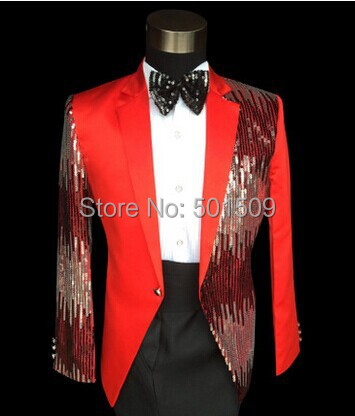Vermelho / lantejoulas glitter azul beading mens smoking jacket / performance de palco só jaqueta