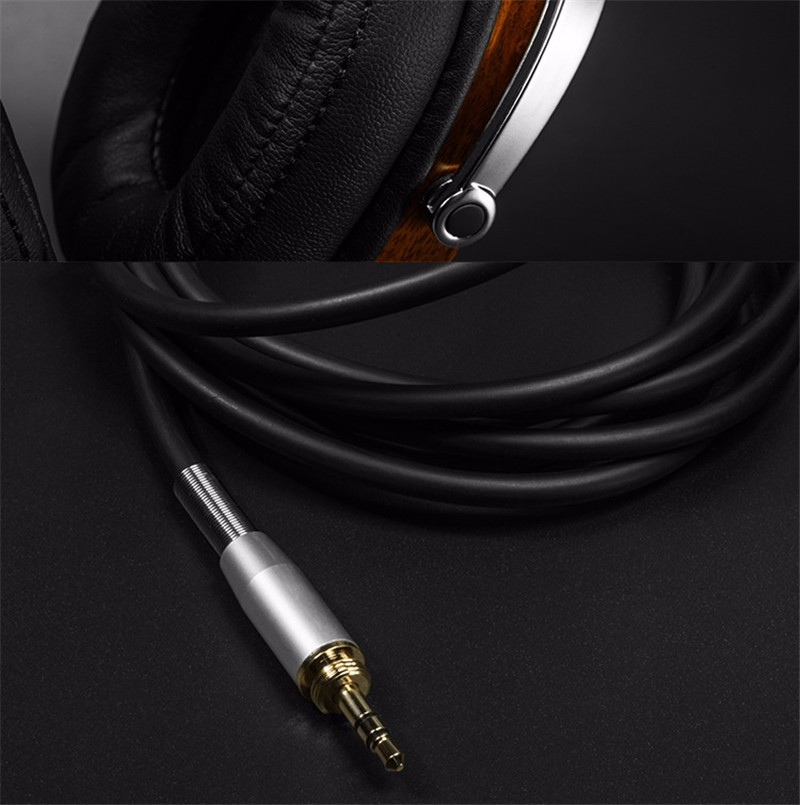 Original BossHifi B8 HiFi Wooden Metal Headphone Black Mahogany Headset Earphone With Beryllium Alloy Driver And protein Leather (5)