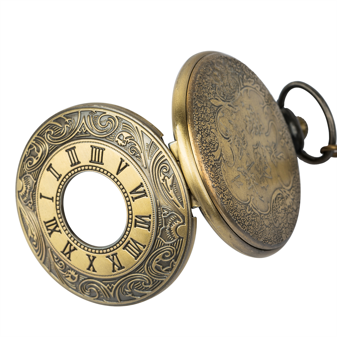 Vintage Bronze Roman Numerals Automatic Mechanical Pocket Watches Men Women Carving Retro Transparent Glass Cover Chain Gifts in Pocket Fob Watches from Watches