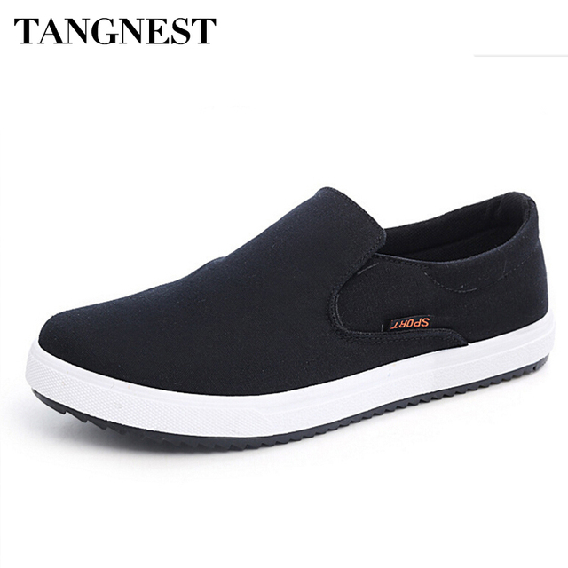 Tangnest Canvas Shoes For Men 2017 New Slip On Soft Loafers Spring Platform Flats Casual Shoes Man For Autumn  Size 39-44 XMF438