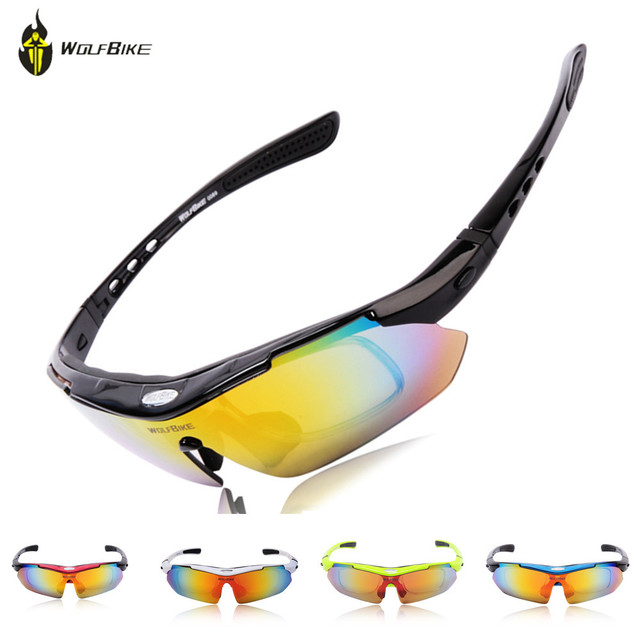 dc207844f12 WOLF BIKE Cycling Polarized Outdoor Sports Bike Cycling Glasses Driving  Racing Goggles Eyewear 5 Lenses Bicycle