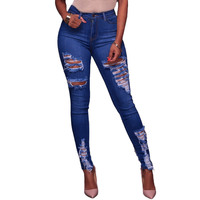Low Waist Distressed Jeans New 2017 Ladies Cotton Denim Pants Stretch Womens Ripped Skinny Denim Jeans