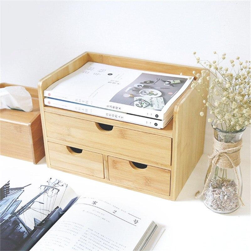 Boîte de rangement de décor domestique tiroir bois organisateur cosmétique tiroirs de maquillage bijoux papeterie boîtes de rangement d'admission - 4